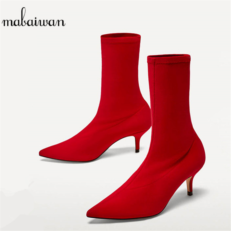 Mabaiwan Red Women High Heel Ankle Boots Stretch Fabric Feminina Pointed Toe Botas Mujer Slip On Shoes Women Pumps Sock Boots fashion catwalk pointed toe ankle boots for women candy color satin sock booties stiletto heel slip on botas mujer