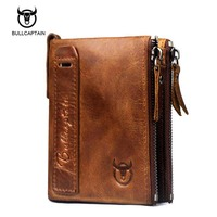 Bullcaptain Genuine Cowhide Leather Men Wallet Short Coin Purse Small Vintage Wallet Brand High Quality Vintage