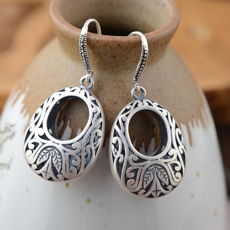 925 Silver Earring Vintage S925 Sterling Silver boucle d'oreille Water Drop Earrings for Women Jewelry vintage leaf water drop earrings