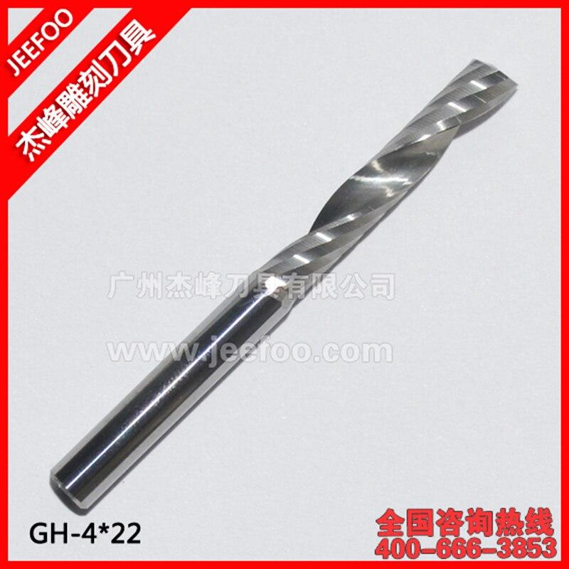 4 * 22mm CNC Bits Router en espiral de flauta única Herramientas de corte de fresa de carburo