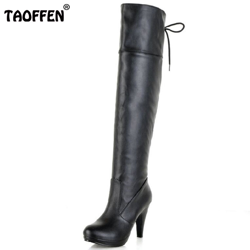 TAOFFEN Free shipping half boots women fashion short winter footwear high heel shoes sexy P8029 EUR size 34-43 free shipping genuine leather high heel shoes platform fashion women dress sexy pumps r3368 hot sale eur size 34 39