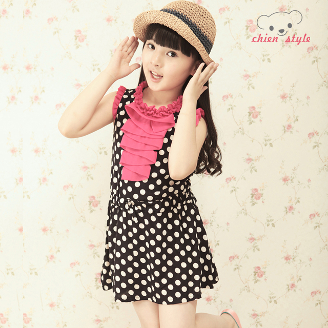 2013 summer child one-piece dress polka dot tank dress female skirt child