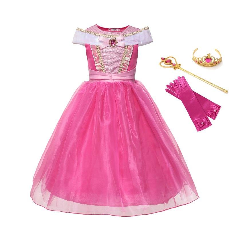 VOGUEON Girl Princess Aurora Costume Dress up Clothes Children Off Shoulder Ankle Length Sleeping Beauty Halloween Cosplay Dress