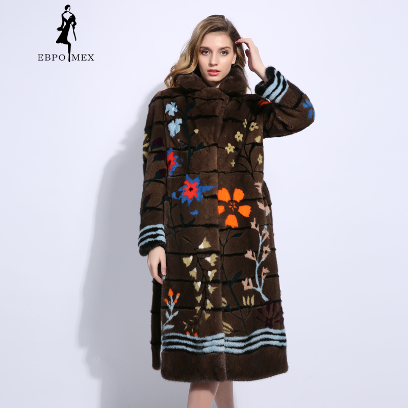 Winter 3D Flower Three-Dimensional Mink Fur Coat 17177