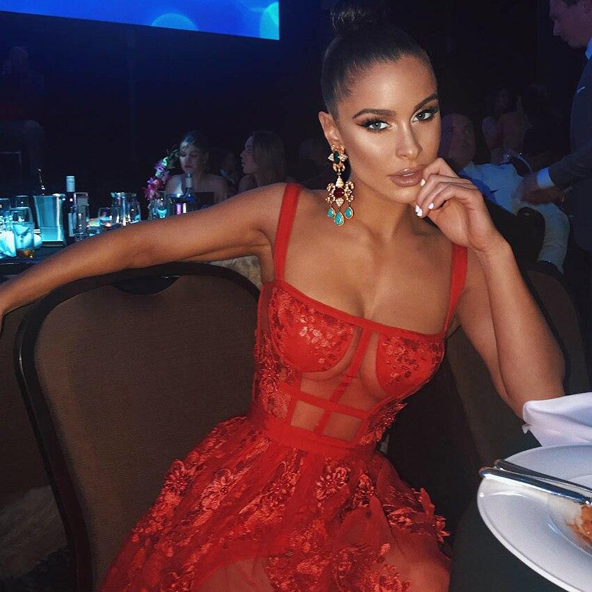 2019 vestido de vendaje rojo nuevo elegante sin mangas correa de encaje Patchwork Maxi vestido de fiesta de noche mujeres Sexy vestido largo-in Vestidos from Ropa de mujer    1