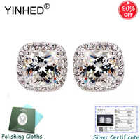 Sent Silver Certificate! YINHED Princess Square Cubic Zirconia Stud Earrings for Women 100% 925 Silver Wedding Jewelry ZE083