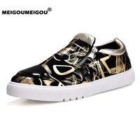MEIGOUMEIGOU модный стиль Вулканизированная обувь мужские кроссовки на молнии качественное блестящее кожаные туфли на плоской подошве мужские Н...