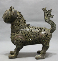 Chinese Bronze JiXiang Animals Cat Head Statue Buddhism Incense Burner Censer