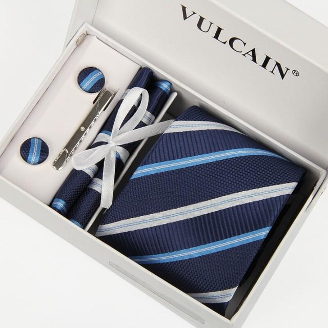 2014 corbatas y pañuelo + mancuernas + clip de corbata y caja regalo 5 sets corbata gravatas rayas navy azul y plata cravates