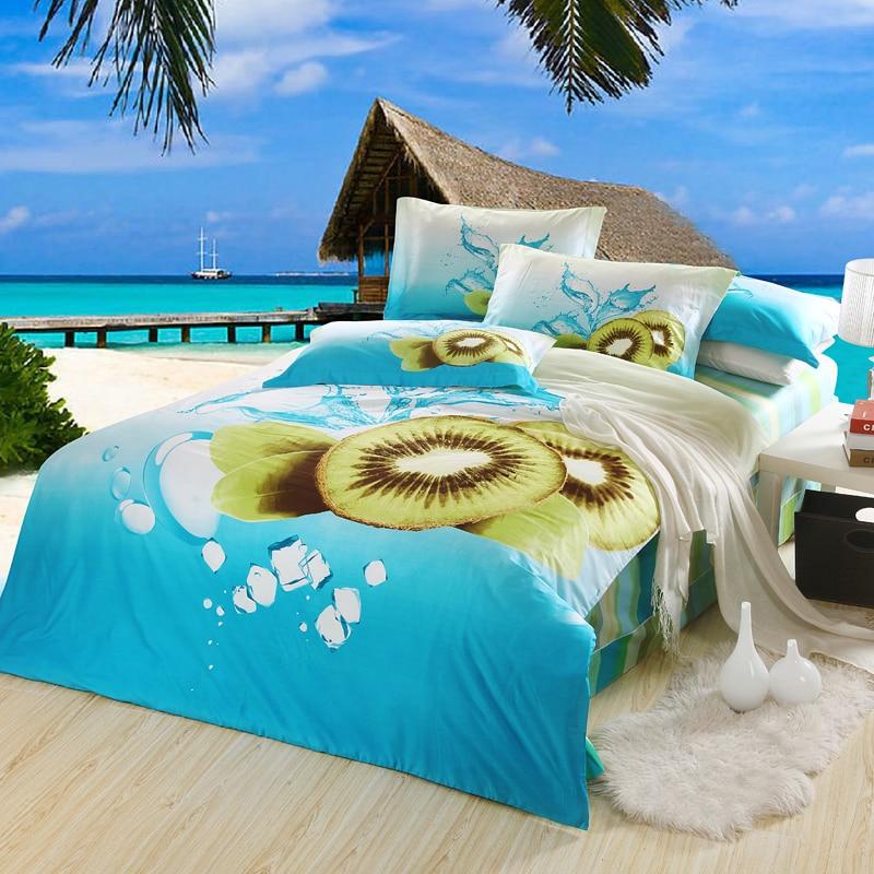 Nouvel été Kiwi fruits imprimer ensemble de literie 3D linge de lit draps ensemble de literie reine taille 4 pièces ensemble de couverture de lit livraison gratuite