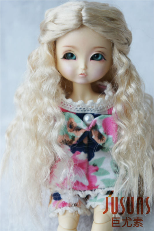 1/8 BJD doll wigs  Long princess curly wig  Synthetic mohair doll wigs Lati yellow 5-6inch doll accessories
