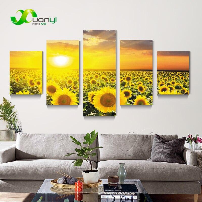 Flores de girasol 5 panel Impresión de lienzo pintura cuadros ...