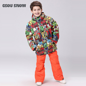 New Style Boys Gsou Snow Jacket+Pants Kids Windproof Waterproof Outdoor Sport Wear Camping Riding Skiing Snowboard Children Suit