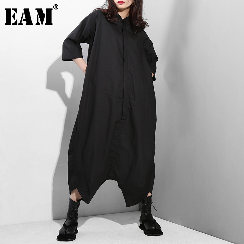 [EAM] 2020 New Spring Autumn High Waist Stand Collar Pocket Stitch Loose Wide Leg Pants Women Jumpsuit  Fashion Tide YA116