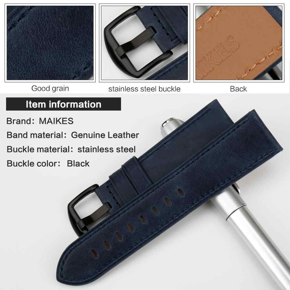 Maikes Echt Koe Lederen Horlogeband Horloge Accessoires Blauw Band Horloge Armband Horloge Band 22 Mm 24 Mm Horlogeband Voor Fossiele