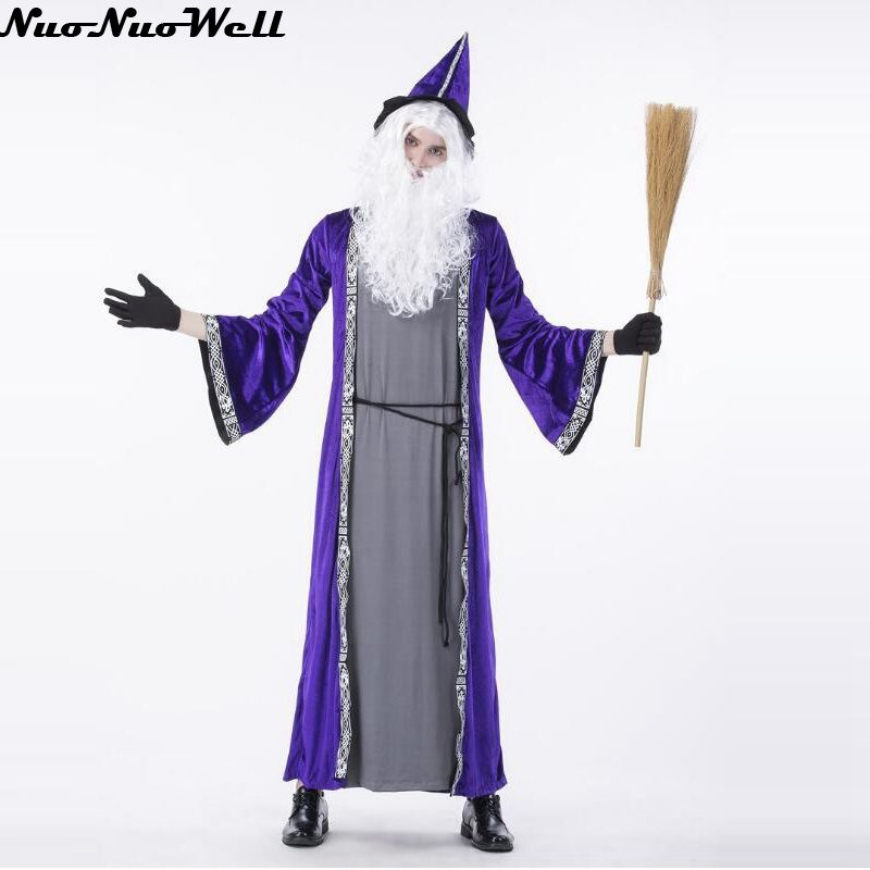 Halloween Cosplay Costume Men Religious Godfather Robe Magician Costume Male Purple Priest Outfit Dark Sorcerer Robe Carnival