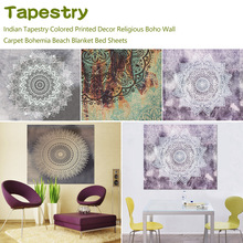 Religious Boho Wall Carpet Indian Tapestry Colored Printed Decor Bohemia Beach Blanket Bed Sheets