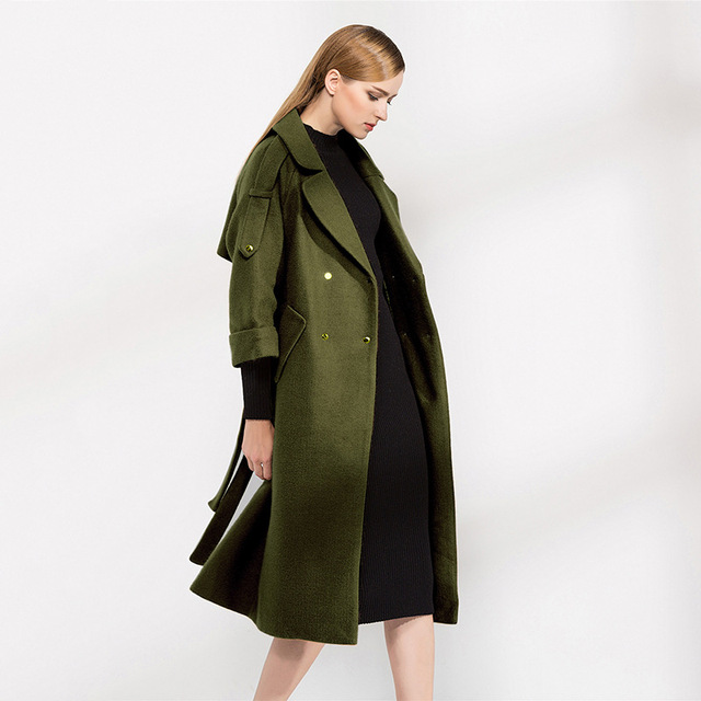 a08b7cb0f45 Runway Ladies Coats Jackets for Women Long Green Designer Tweed Wool Maxi  Coat Autumn Winter Cape Overcoat Jacket