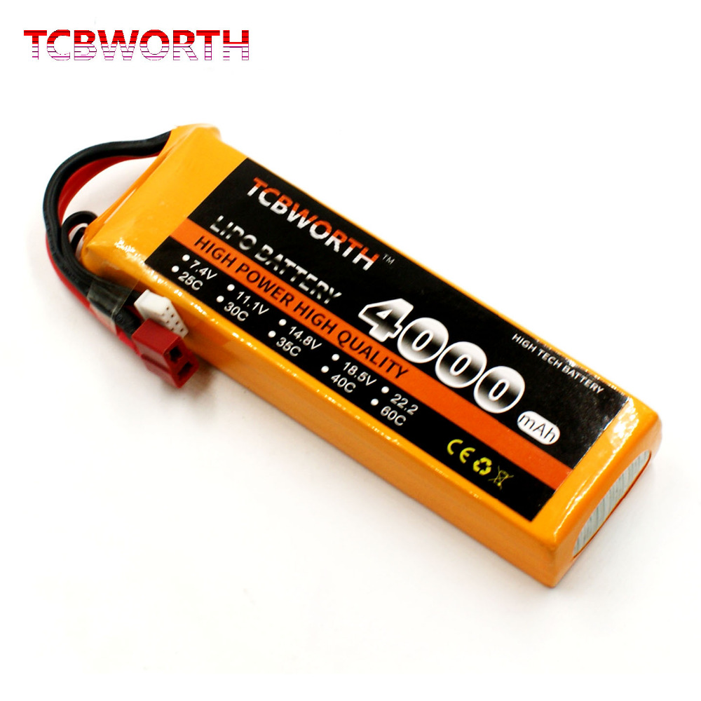 TCBWORTH RC LiPo Airplane battery 2S 7.4V 4000mAh 30C For RC Helicopter Quadrotor Drone Car boat Truck Li-ion batteria tcbworth 11 1v 3300mah 60c 120c 3s rc lipo battery for rc airplane helicopter quadrotor drone car boat truck li ion battery