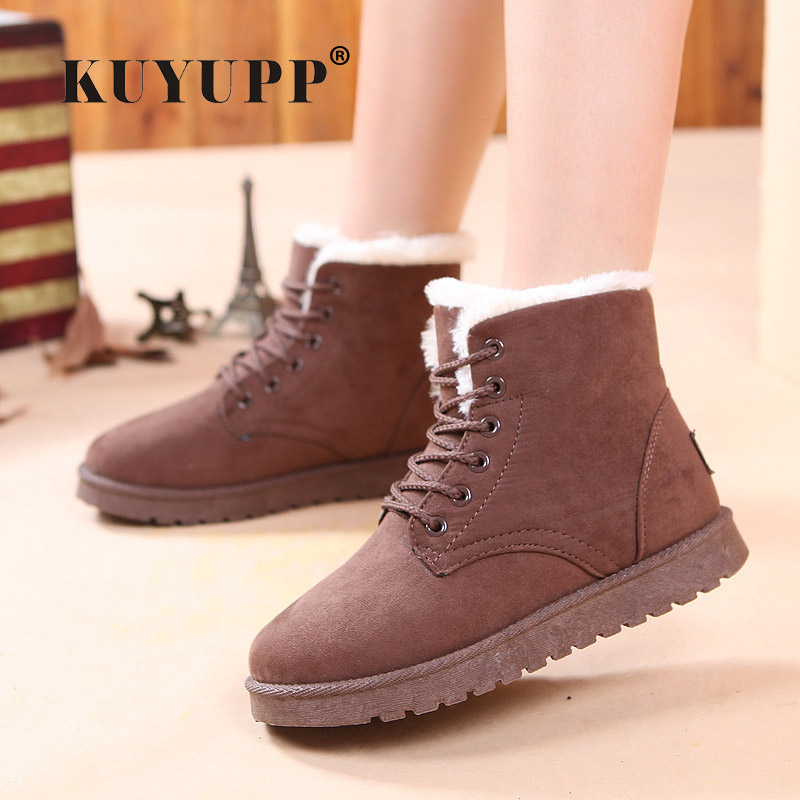 Suede Flat Platform Winter Shoes Woman Plus Velvet Warm Women Boots Lace Up Cotton Snow Boots Flat With Botas Shoes DX105 684 suede shoes