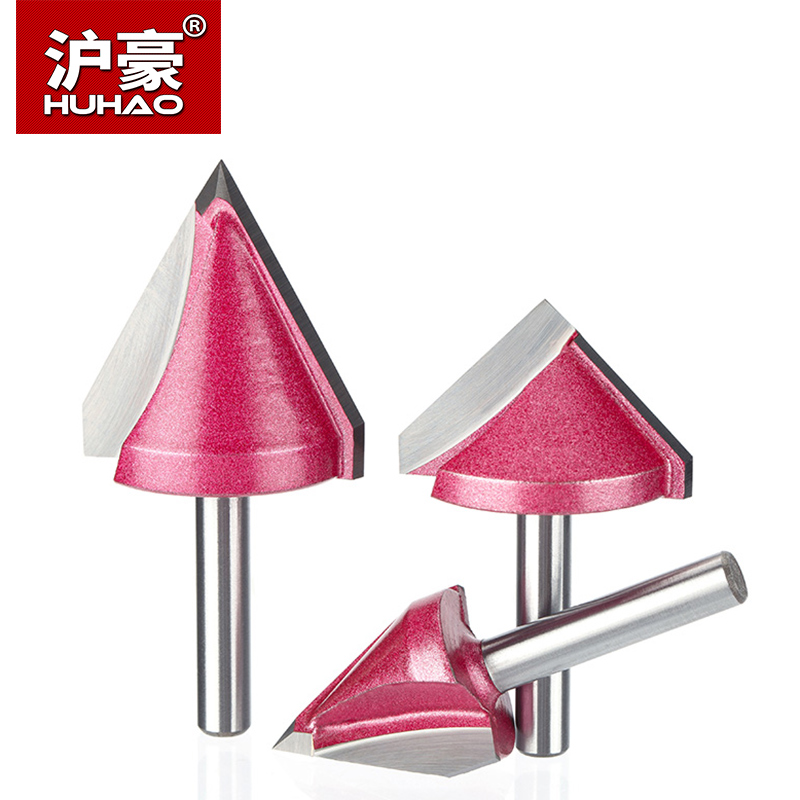 HUHAO 1pc 6mm V Bit CNC solid carbide end mill 3D Router Bits for Wood tungsten woodworking MDF milling cutter 60 90 120 150 deg huhao 1pc 6mm 3 flute spiral cutter router bits for wood cnc end mill carbide milling cutter tugster steel wood milling cutter