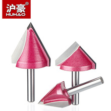 HUHAO 1pc 6mm V Bit CNC solid carbide end mill 3D Router Bits for Wood tungsten woodworking MDF milling cutter 60 90 120 150 deg 6 22 90 3d v shape woodworking router bits for mdf plywood cork plastic acrylic pvc