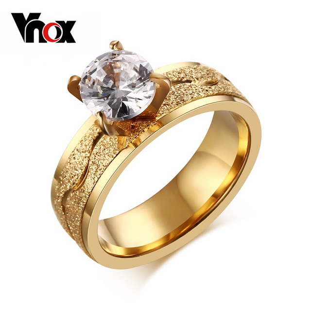 Fashion Engagement Ring For Women Dull Polish Stainless Steel Wedding Ring Prong
