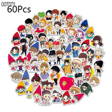 60PCS Cute Cartoon Waterproof Sunscreen PVC Decal Stickers Removable Car Motorcycle Suitcase Wall Graffiti Pasters