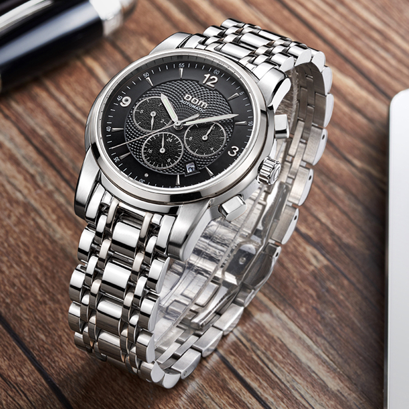 DOM Men's Watch Sports Watch Multi-function Steel Belt Luminous Mechanical Watch Waterproof Male Watches Relogio Masculino