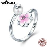 WOSTU Venda Hot 925 Sterling Silver Flor de Magnólia CQR126 Ajustável Anel de Dedo Para As Mulheres S925 Jóias de Luxo