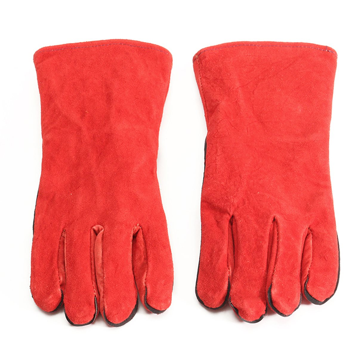 Gauntlet cuff leather work gloves - Xl Leather Welder Gauntlet Log Fire High Temperature Protection Long Glove Stove Safety Gloves China