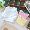 La primavera y el otoño bebé niña prendas de vestir exteriores superior básico de la camiseta de la rebeca ropa camisa del todo fósforo