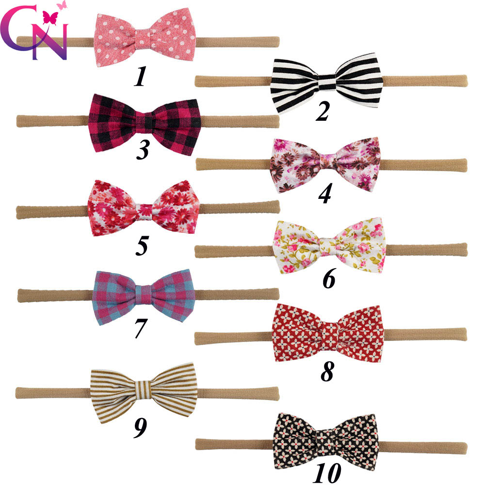 10 Pcs/lot Solid Tan Nylon Headband With Fabric Bow For Kids Girls Handmade Boutique Elastic Hair Accessories 10pcs lot bourique elastic nylon headband with fabric bow for girls hair accessories kids elastic headband
