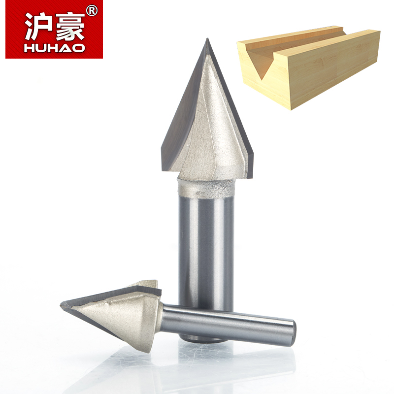 HUHAO 1pcs 1/2 1/4 Shank 60 Deg V Type slotting cutter Tungsten Router Bits for wood Woodworking Carving Tool huhao 1pcs 1 2 1 4 shank classical router bits for wood tungsten carbide woodworking endmill tools classical mounlding bit