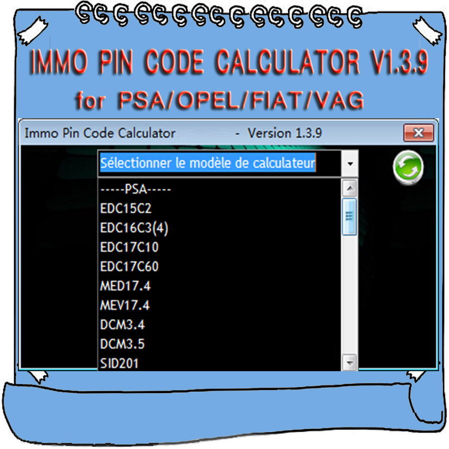 IMMO Pin Code Calculator V1.3.9 For Psa Opel Fiat Vag