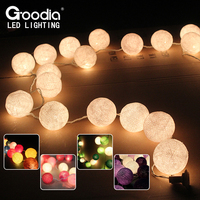 20pcs Cotton Ball Christmas Fairy String Lights Home Decoration Fiestas Lamp Garland Strip Lighting Wedding Luminarias