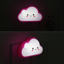 Cartoon Cloud Design LED Night Lights Children Bedside Lamp with AC110V 220V Plug Bedroom Mini Light Pink/Blue/Yellow