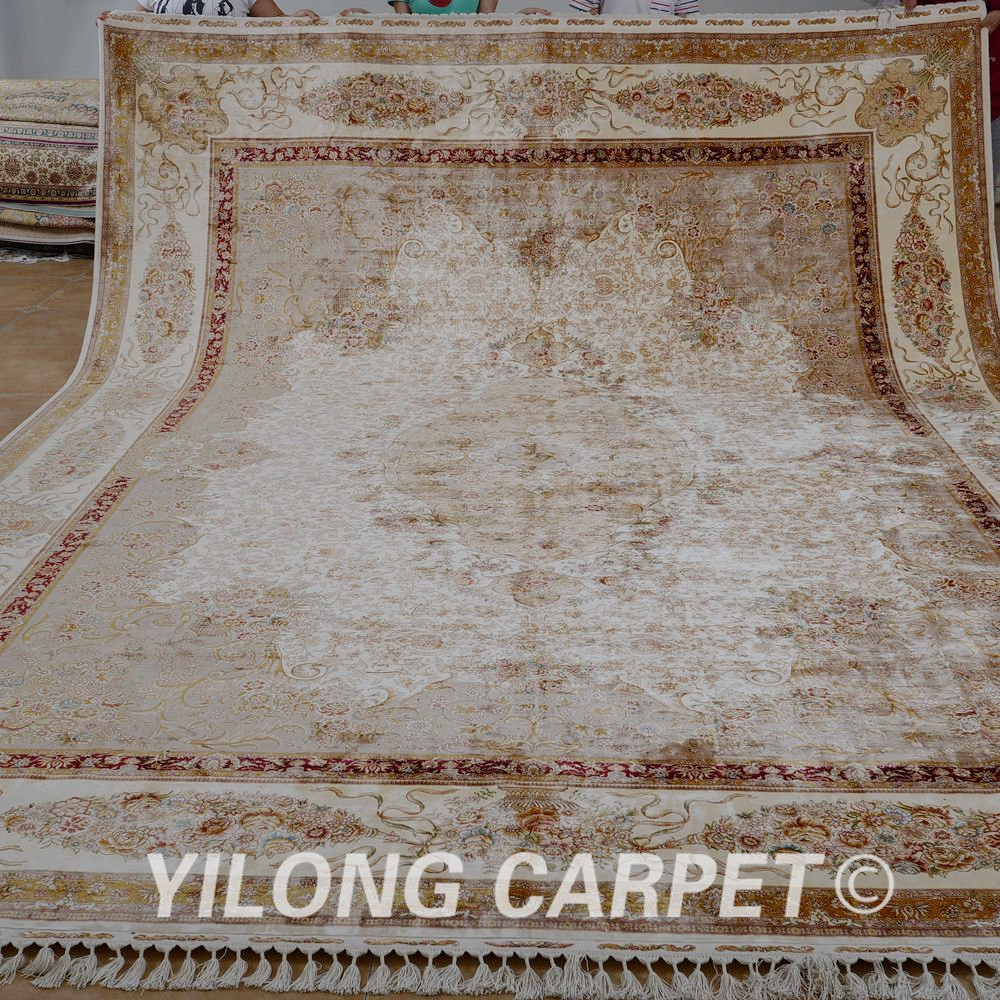 Antique Turkish Silk Rug: Yilong 10.2'x14.1' Vantage Tabriz Turkish Silk Rug Large