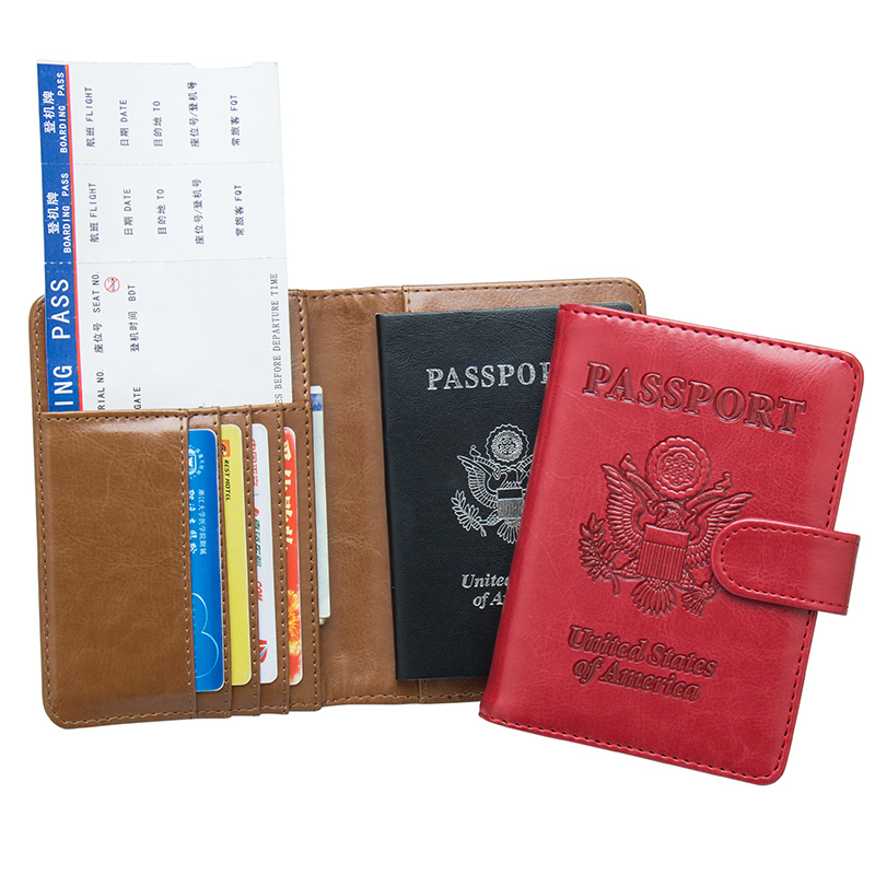 Card & Id Holders Usa Oil Portable Magnet Buckle Passport Cover Travel Passport Holder Built In Rfid Blocking Protect Personal Information