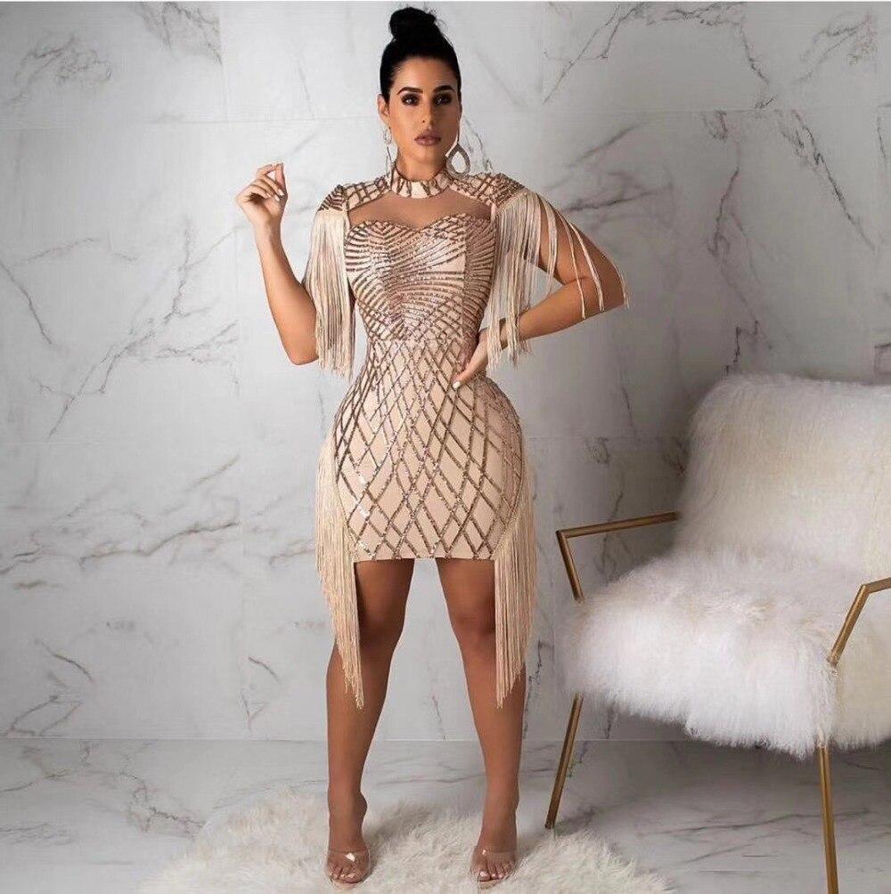 Haute qualité kaki manches courtes gland mode Mini robe élégante robe de soirée
