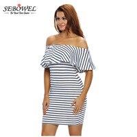 SEBOWEL 2017 Black White Striped Ruffles Summer Women Dresses Slash Neck Off Shoulder Bodycon Mini Pencil