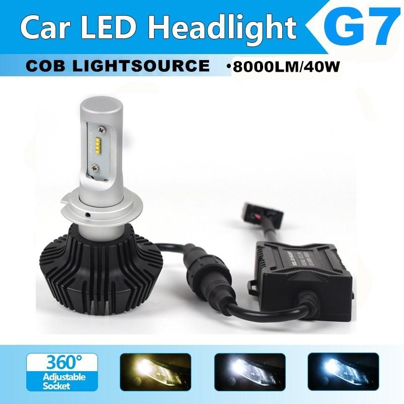 1pair h7 led car headlight bulbs cree csp chips 40w 8000lm. Black Bedroom Furniture Sets. Home Design Ideas
