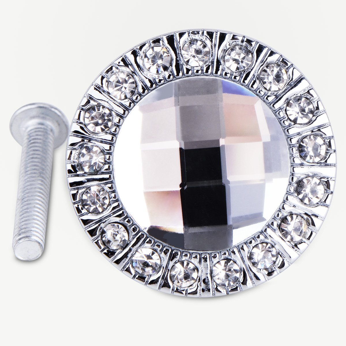 4x handle knob silver diament brilliant for cabinet drawer door