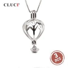 CLUCI 3 sztuk 925 Sterling Silver wisiorek biżuteria balon dmuchany w kształcie wisiorek srebrny 925 kobiety prezent biżuteria Pearl medalion SC326SB