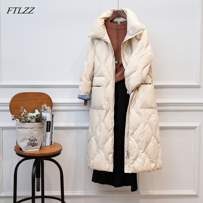 FTLZZ 90% Ultra Light Duck   Down   Winter Jacket Women 2019   Coats   Female Long Casual Warm   Down   Parka Outerwear