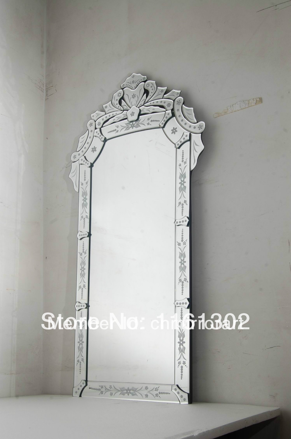 Venetian frameless floor mirror
