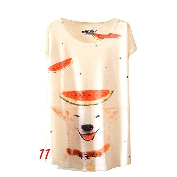 HTB1Sj2FNFXXXXXGXFXXq6xXFXXXC - Fashion Summer Animal Cat Print Shirt O-Neck Short Sleeve