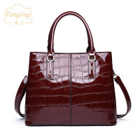 Business women shoulder bag luxury handbags 2019 patent leather female totes wine red crocodile alligator bag Fengting FTB016