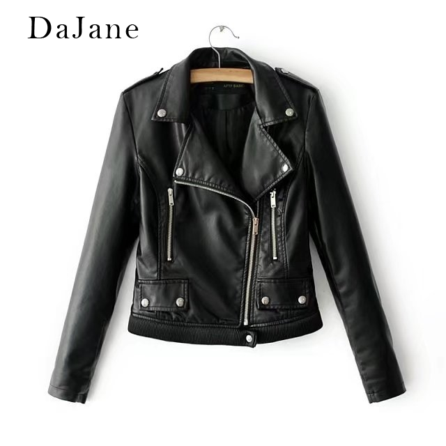 Autumn New women's PU   Leather   Jacket Jacket Solid Color Shirt Manufacturers   Leather   Jacket Women