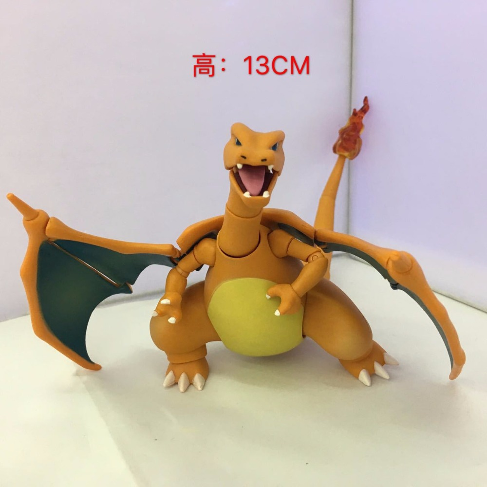 Free Shipping 5 Anime Cartoon Monster Charizard Dragon SHF Moveable Ver. Boxed 13cm PVC Action Figure Collection Model Doll Toy цена